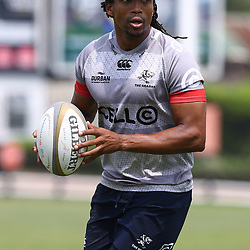 Odwa Ndungane during The Cell C Sharks training at Growthpoint Kings Park in Durban, South Africa. 04 October  2017(Photo by Steve Haag)<br /> <br /> images for social media must have consent from Steve Haag