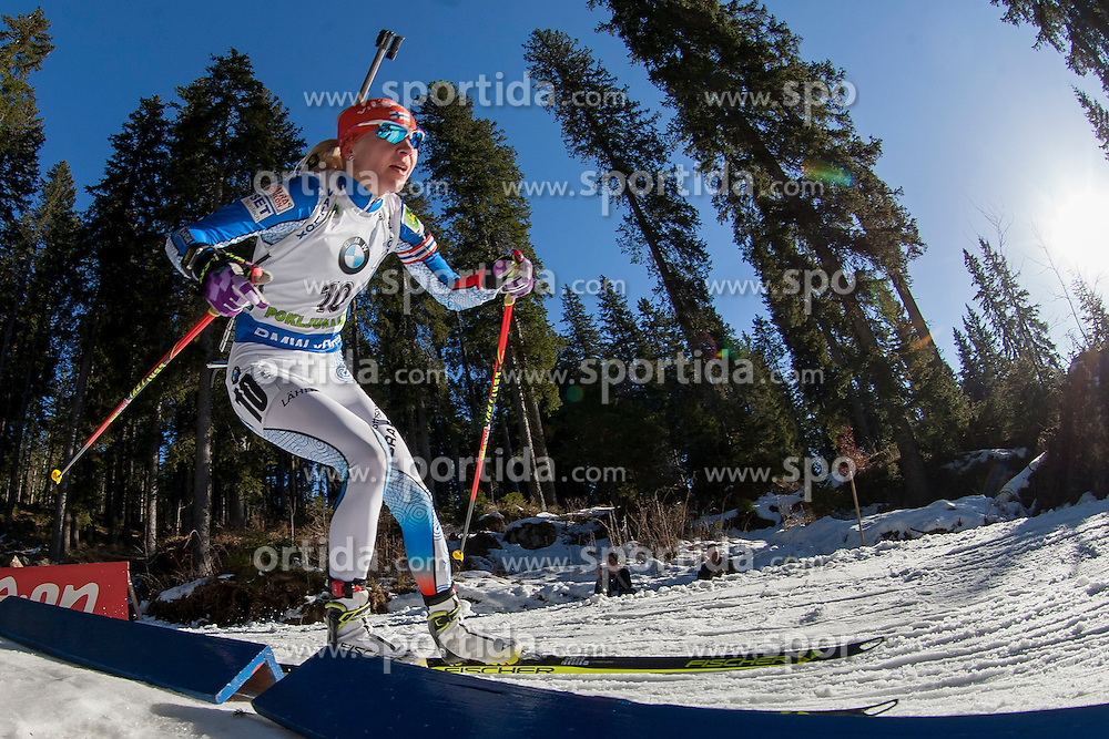 Kaisa Makarainen (FIN) competes during Women 10 km Pursuit at day 3 of IBU Biathlon World Cup 2015/16 Pokljuka, on December 19, 2015 in Rudno polje, Pokljuka, Slovenia. Photo by Urban Urbanc / Sportida