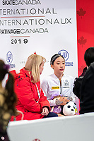 KELOWNA, BC - OCTOBER 25:  Korean figure skater Young You awaits her score at Skate Canada International in the ladies short program at Prospera Place on October 25, 2019 in Kelowna, Canada. (Photo by Marissa Baecker/Shoot the Breeze)