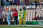 Steve Smith is congratulated by Usman Khawaja on reaching 50 during the ICC Cricket World Cup 2019 warm up match between England and Australia at the Ageas Bowl, Southampton, United Kingdom on 25 May 2019.
