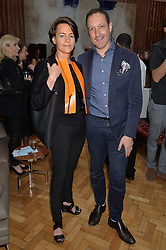 MARTINE D'ANGLEJAN-CHATILLON and JULIAN VOGEL at a cocktail reception to celebrate the launch of the Bicester Village the British Designer's Collective 2014 held at the The Keeper's House, Royal Academy of Art, Piccadilly, London on 20th May 2014.