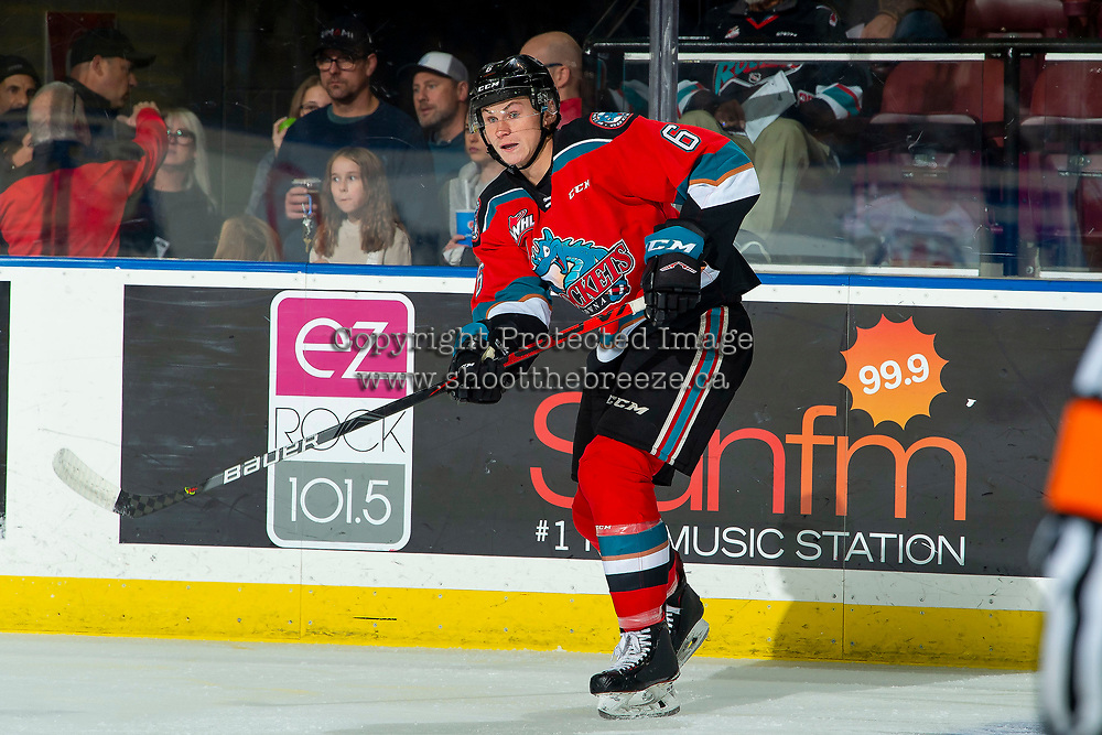 KELOWNA, BC - OCTOBER 2:  Kaedan Korczak #6 of the Kelowna Rockets completes a pass against the Tri-City Americans  at Prospera Place on October 2, 2019 in Kelowna, Canada. Korczak was selected by the Vegas Golden Knights in the 2019 NHL entry draft. (Photo by Marissa Baecker/Shoot the Breeze)