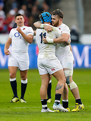 England Winger Jack Nowell and replacement Luke Cowan-Dickie (both from Exeter Chiefs) celebrate after winning the match to complete their Six Nations title with the Grand Slam - Mandatory byline: Rogan Thomson/JMP - 19/03/2016 - RUGBY UNION - Stade de France - Paris, France - France v England - RBS 6 Nations 2016.
