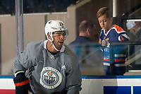 KELOWNA, BC - SEPTEMBER 22:  Darnell Nurse #25 of the Edmonton Oilers practices at Prospera Place on September 22, 2019 in Kelowna, Canada. (Photo by Marissa Baecker/Shoot the Breeze)