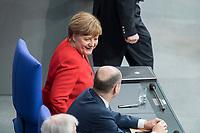 21 MAR 2019, BERLIN/GERMANY:<br /> Angela Merkel, CDU Bundeskanzlerin, nach ihrer   Regierungserklaerung zum Europaeischen Rat, Plenum, Deutscher Bundestag<br /> IMAGE: 20190321-01-053