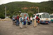 BU00001-00...BHUTAN - Meeting the trekking group at the international airport in Paro.