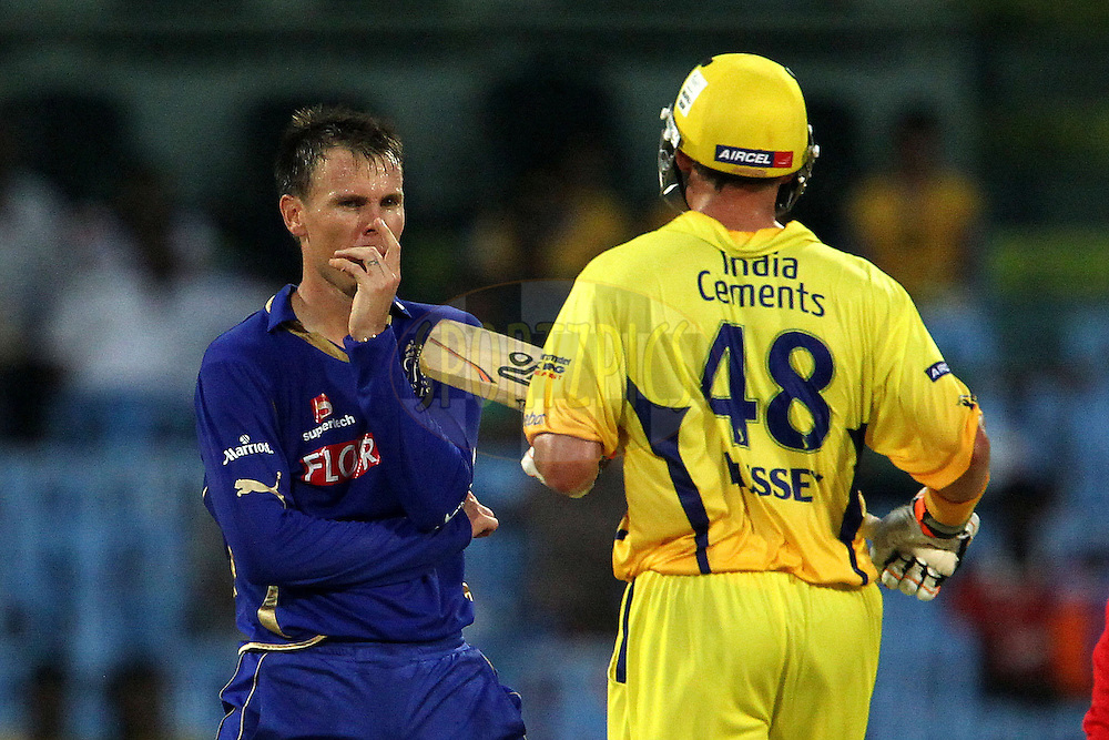 Johan Botha and Michael Hussey during match 43 of the Indian Premier League ( IPL ) Season 4 between the Chennai Superkings and The Rajasthan Royals held at the MA Chidambaram Stadium in Chennai, Tamil Nadu, India on the 4th May 2011..Photo by Ron Gaunt/BCCI/SPORTZPICS