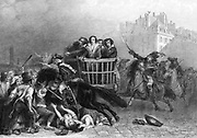 French Revolution: Last victims of the Reign of Terror being taken to the guillotine in a tumbril. Engraving.