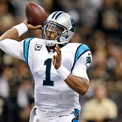 Dec 8, 2013; New Orleans, LA, USA; Carolina Panthers quarterback Cam Newton (1) against the New Orleans Saints during the first quarter of a game at Mercedes-Benz Superdome. Mandatory Credit: Derick E. Hingle-USA TODAY Sports