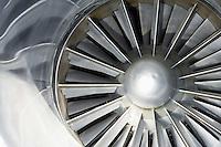 Turbine of jet airplane close-up