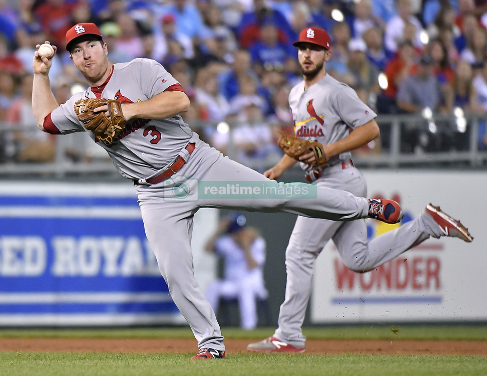 August 8, 2017 - Kansas City, MO, USA - St. Louis Cardinals third baseman Jedd Gyorko throws out the Kansas City Royals' Cheslor Cuthbert at first on a ground out to end the sixth inning at Kauffman Stadium in Kansas City, Mo., on Tuesday, Aug. 8, 2017. (Credit Image: © John Sleezer/TNS via ZUMA Wire)