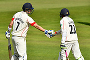 50 for Haseeb Hameed of Lancashire - Haseeb Hameed of Lancashire celebrates scoring a half century and is congratulated by Liam Livingstone of Lancashire during the Specsavers County Champ Div 1 match between Somerset County Cricket Club and Lancashire County Cricket Club at the Cooper Associates County Ground, Taunton, United Kingdom on 14 September 2017. Photo by Graham Hunt.