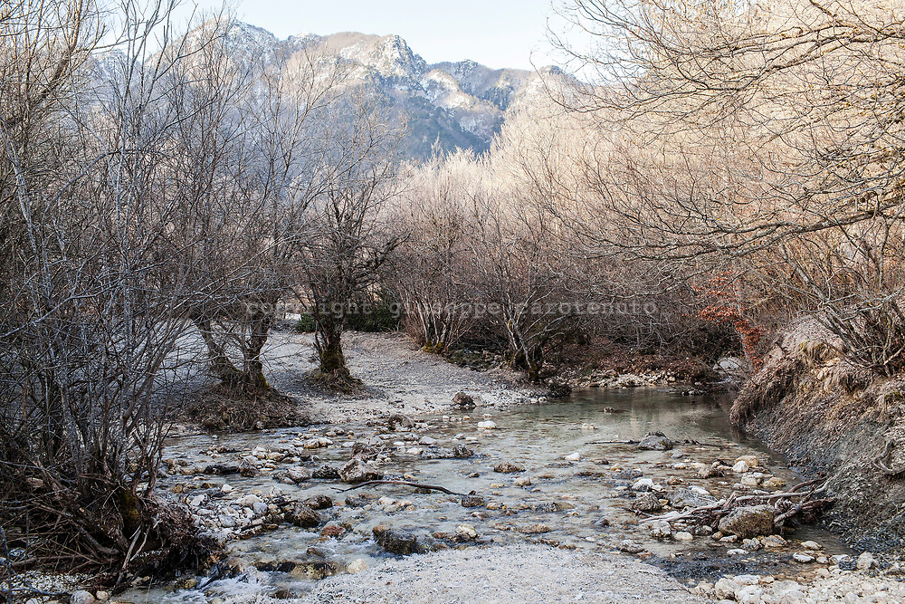 17 February 2017, Civitella Alfedana, AQ Italy - A mornig view of the Natural Reserve Camosciara inside the National Park of Abruzzo.