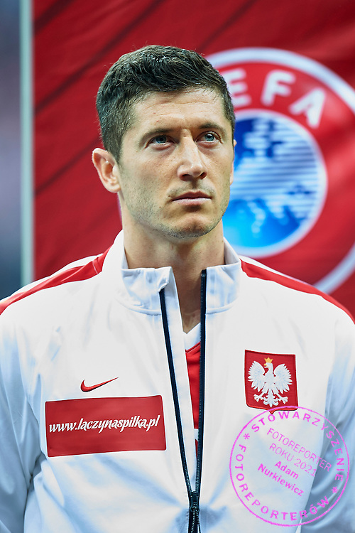 Poland's Robert Lewandowski while national anthem during the EURO 2016 qualifying match between Poland and Germany on October 11, 2014 at the National stadium in Warsaw, Poland<br /> <br /> Picture also available in RAW (NEF) or TIFF format on special request.<br /> <br /> For editorial use only. Any commercial or promotional use requires permission.<br /> <br /> Mandatory credit:<br /> Photo by &copy; Adam Nurkiewicz / Mediasport