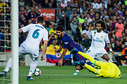 09 Luis Suarez from Uruguay of FC Barcelona defended by 06 Nacho from Spain of Real Madrid, 12 Marcelo Vieira da Silva from Brazil of Real Madrid and 01 Keylor Navas from Puerto Rico of Real Madrid during the Spanish championship La Liga football match between FC Barcelona and Real Madrid on May 6, 2018 at Camp Nou stadium in Barcelona, Spain - Photo Xavier Bonilla / Spain ProSportsImages / DPPI / ProSportsImages / DPPI