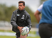 Ben Volavola with the ball during the Fiji Training Session in preparation for the Rugby World Cup at London Irish RFC, Sunbury-On-Thames, United Kingdom on 14 September 2015. Photo by Ian Muir. during the Fiji Training Session in preparation for the Rugby World Cup at London Irish RFC, Sunbury-On-Thames, United Kingdom on 14 September 2015. Photo by Ian Muir.