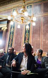 17.10.2016, Parlament, Wien, AUT, Grüne, Festveranstaltung anlässlich 30 Jahre Grüne im Parlament. im Bild Grüne Klubobfrau Eva Glawischnig // Leader of the parliamentary group the greens Eva Glawischnig<br /> during ceremony due to 30 years of the green party in the austrian parliament in Vienna, Austria on 2016/10/17. EXPA Pictures © 2016, PhotoCredit: EXPA/ Michael Gruber