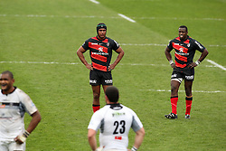 A frustrated Thierry Dusautoir and Yves Donguy wait for the lineout. Stade Toulousain v Brive, 24eme Journee, Top 14. Stade Ernest Wallon, Toulouse, France, 21 Avril 2012.