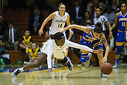 San Francisco Lady Dons forward Hashima Carothers (44) dives for a loose ball against the San Jose State Spartans at Kezar Pavilion in San Francisco, Calif., on December 6, 2016. (Stan Olszewski/Special to S.F. Examiner)