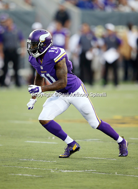 Minnesota Vikings wide receiver Mike Wallace (11) goes out for a pass during the 2015 NFL Pro Football Hall of Fame preseason football game against the Pittsburgh Steelers on Sunday, Aug. 9, 2015 in Canton, Ohio. The Vikings won the game 14-3. (©Paul Anthony Spinelli)