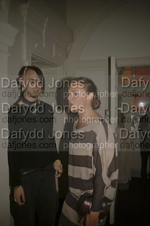 Blake Viola and Stella McCartney, VIP opening of Bill Viola exhibition Love/Death: The Tristan project. Haunch of Venison, St Olave's College, Tooley St. London and Dinner afterwards at Banqueting House. Whitehall. 19 June 2006. ONE TIME USE ONLY - DO NOT ARCHIVE  © Copyright Photograph by Dafydd Jones 66 Stockwell Park Rd. London SW9 0DA Tel 020 7733 0108 www.dafjones.com