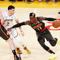 07 January 2018: Atlanta Hawks guard Dennis Schroder (17) drives past Los Angeles Lakers guard Lonzo Ball (2) on a screen set by Atlanta Hawks center Miles Plumlee (18) during the LA Lakers 132-113 victory over the Atlanta Hawks, at the Staples Center, Los Angeles, California, USA.