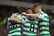 Odsonne Edouard congratulated by his Captain Scott Brown & Kristoffer Ajer during the William Hill Scottish Cup Final match between Heart of Midlothian and Celtic at Hampden Park, Glasgow, United Kingdom on 25 May 2019.