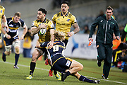 Nehe Milner-Skudder tackled during the Super Rugby match, Brumbies V Hurricanes, GIO Stadium, Canberra, Australia, 30th June 2018.Copyright photo: David Neilson / www.photosport.nz