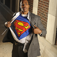 Jan 21, 2009 - Orlando, FL, U.S.A. -- Orlando Magic center Dwight Howard poses as Clark Kent / Superman in an alley in Downtown Orlando. Howard won last years NBA Slam Dunk contest with a mix of humor and amazing athleticism. Howard will compete again in the SDC, but it will be tough to top his Superman routine. ..Photo by Preston C. Mack, Freelance.
