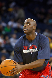 February 25, 2011; Oakland, CA, USA;  Atlanta Hawks small forward Damien Wilkins (3) warms up before the game against the Golden State Warriors at Oracle Arena. Atlanta defeated Golden State 95-79.