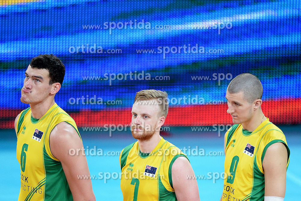 07.09.2014, Jahrhunderthalle, Breslau, POL, FIVB WM, Australien vs Venezuela, Gruppe A, im Bild THOMAS EDGAR, HARRISON PEACOCK, ADAM WHITE , PREZENTACJA ZESPOLOW HYMN NARODOWY // during the FIVB Volleyball Men's World Championships Pool A Match beween Australia and Venezuela at the Jahrhunderthalle in Breslau, Poland on 2014/09/07. EXPA Pictures &copy; 2014, PhotoCredit: EXPA/ Newspix/ Michal Stanczyk<br /> <br /> *****ATTENTION - for AUT, SLO, CRO, SRB, BIH, MAZ, TUR, SUI, SWE only*****