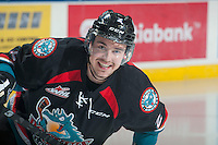 KELOWNA, CANADA - NOVEMBER 22: Jesse Lees #2 of Kelowna Rockets is all smiles as he skates the ice during warm up against the Portland Winterhawks on November 22, 2014 at Prospera Place in Kelowna, British Columbia, Canada.  (Photo by Marissa Baecker/Shoot the Breeze)  *** Local Caption *** Jesse Lees;