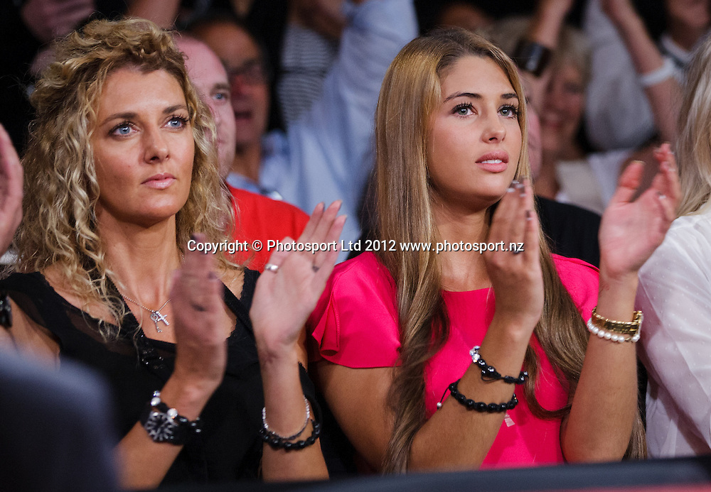 Sonny Bill Williams girlfriend Jaime Ridge, centre, and her mother Sally Ridge, left and Williams sister in law Casey Woolsey watch Williams fight against Clarence Tillman III from USA at the New Zealand Heavyweight Belt title boxing at Claudelands Events Centre won by Williams, Hamilton, New Zealand, Wednesday 8 February 2012. Photo: Stephen Barker/PHOTOSPORT
