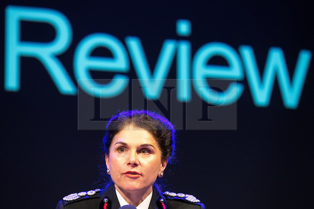 © Licensed to London News Pictures. 27/03/2018. Salford, UK. Greater Manchester Fire and Rescue's DAWN DOCX . The Kerslake Report in to the terrorist bombing of an Ariana Grande concert at the Manchester Arena on 22nd May 2017 , ordered by Greater Manchester Metro Mayor Andy Burnham , is published at a press conference at the University of Salford , at Media City . Amongst praise for many connected with the events, the report also highlights failings in communication at Greater Manchester Fire and Rescue on the night and disreputable behaviour by some sections of the media in the aftermath of the attack . Photo credit: Joel Goodman/LNP
