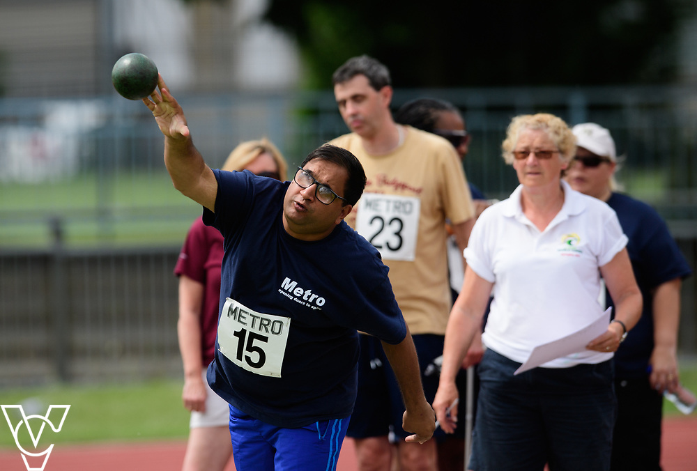 Metro Blind Sport's 2017 Athletics Open held at Mile End Stadium.  Shot put.  Atif Umer<br /> <br /> Picture: Chris Vaughan Photography for Metro Blind Sport<br /> Date: June 17, 2017