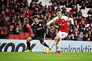Arsenal's Mesut Özil (10) surging forward during the Europa League group stage match between Arsenal and FK QARABAG at the Emirates Stadium, London, England on 13 December 2018.