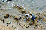 People Visiting the Tide Pools at Rockpile Beach in Laguna Beach California