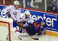 Marcel Hossa felt (at left Tommy Jakobsen -7) at ice-hockey match Slovakia vs Norway at Preliminary Round (group C) of IIHF WC 2008 in Halifax, on May 03, 2008 in Metro Center, Halifax, Canada. (Photo by Vid Ponikvar / Sportal Images)