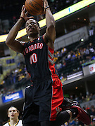April 09, 2012; Indianapolis, IN, USA; Toronto Raptors shooting guard DeMar DeRozan (10) shoots the ball against the Indiana Pacers at Bankers Life Fieldhouse. Mandatory credit: Michael Hickey-US PRESSWIRE
