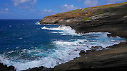 Surf into cliff; Hawaii Kai; Oahu; Hawaii; wave; erosion; ocean; blue
