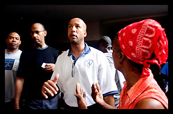 31st August, 2005. Mayor Ray Nagin takes some heat from an angry refugee trapped at the Hyatt Hotel in New Orleans as he vents his frustrattion against the Govenor and the President.<br /> Photo; Charlie Varley/varleypix.com