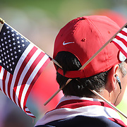 Ryder Cup 2016. Day Three. A spectator during the Sunday singles competition at  the Ryder Cup tournament at Hazeltine National Golf Club on October 02, 2016 in Chaska, Minnesota.  (Photo by Tim Clayton/Corbis via Getty Images)