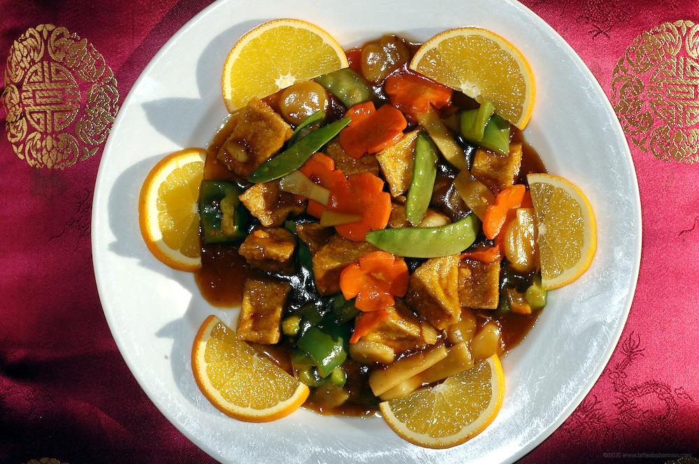 Zen Garden: Orange Tofu: Tofu, carrots, green peppers, water chestnuts and oranges in a sweet orange sauce.