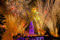 Independence Eve fireworks over the City and County Building, Civic Center Park, Downtown Denver, Colorado USA.