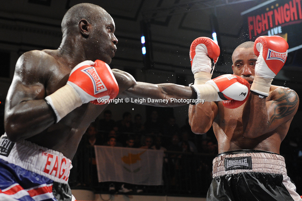 Erick Ochieng (Union Jack shorts) defeats Dee Mitchell in a 6x3min Light Middleweight contest at York Hall 09.11.11. Matchroom Sport. Photo credit: © Leigh Dawney 2011.