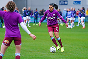 West Ham United Women midfielder Kenza Dali (21) warming up during the FA Women's Super League match between Manchester City Women and West Ham United Women at the Sport City Academy Stadium, Manchester, United Kingdom on 17 November 2019.