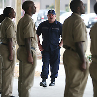 Lauren Wood | Buy at photos.djournal.com<br /> Officer Bobby Carnathan, center, leads cadets in drills during the first full day of police academy training Monday morning at the North Mississippi Law Enforcement Training Center.