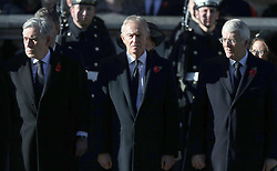 Former Prime Ministers Gordon Brown (left) Tony Blair and John Major (right) during the remembrance service at the Cenotaph memorial in Whitehall, central London, on the 100th anniversary of the signing of the Armistice which marked the end of the First World War.