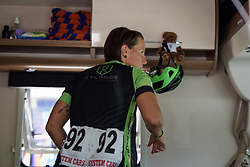 Marta Tagliaferro prepares for Stage 7 of the Giro Rosa - a 141.9 km road race, between Isernia and Baronissi on July 6, 2017, in Isernia, Italy. (Photo by Sean Robinson/Velofocus.com)