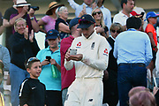 Joe Root of England signs his autographs for a young supporter at the end of play after England won the test series with a game to spare during the 4th day of the 4th SpecSavers International Test Match 2018 match between England and India at the Ageas Bowl, Southampton, United Kingdom on 2 September 2018.